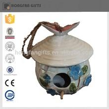 Jardín caliente de la venta del ornamento de cerámica colgando casa del pájaro