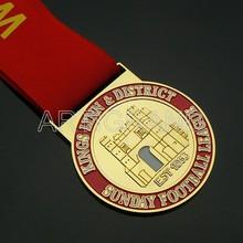Custom sunday football league golden metal medal