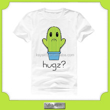 90% cotton 10% spandex new design plant printed t-shirts from China factory