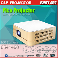 New P96 DLP Smart Pico Projector Android 4.4 Quad-core 1080P MHL/HDMI/WIFI/Airplay Mini LED Projector gold