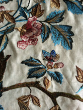 linen fabric with embroidered flower