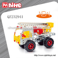 Educational building block set diy metal toy car