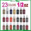 2015 getbetterlife hot selling 23 colorS 1/2 OZ eyebrow tattoo ink, tattoo color eyebrow ink, eyebrow microblading ink set