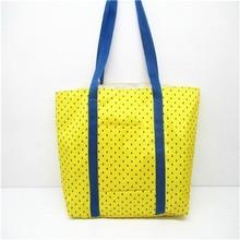 2015 Hot Sell Ladies Beach bag Fashion women Shopping bag Yellow Polka Dots Polyster handbag
