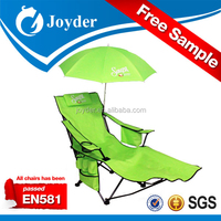 folding beach recliner chair with umbrella and pillow