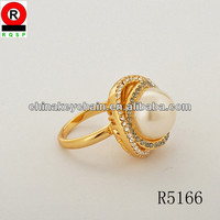 Precious Fashion Gold Ring pure Pearl ring Latest Design women's ring