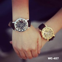 New design skeleton automatic watch man quartz stainless steel back watch, couple lover wrist watch, fashion watch