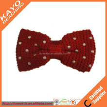 red with white dots 100% silk knitted bowtie