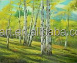 The birch forest landscape Knife painting