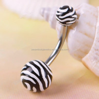 Stainless Steel Zebra Animal Print Belly Ring Curved Navel Piercing Body Piercing Jewelry