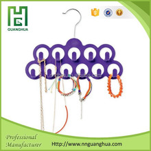 High quality 10 holes plastic purple velvet hanger