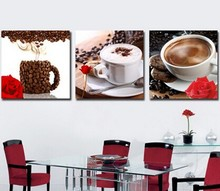 Picture Oil Painting Wall Sticker 3PCS Coffee Canvas Painting Poster Wall Pictures For Living Room Print On Canvas