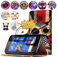 For Nokia Lumia 520 case, mobile phone book style wallet printed PU leather flip cover case for Nokia Lumia 520