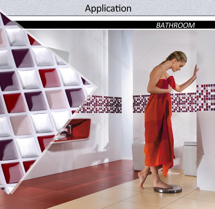 Gros auto adh sif 3d carreaux de mur animal papier - Mosaique auto adhesive salle de bain ...