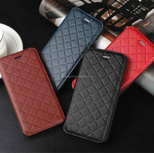 Factory wholesale high quality tartan pattern flip leather mobile case for iphone 6