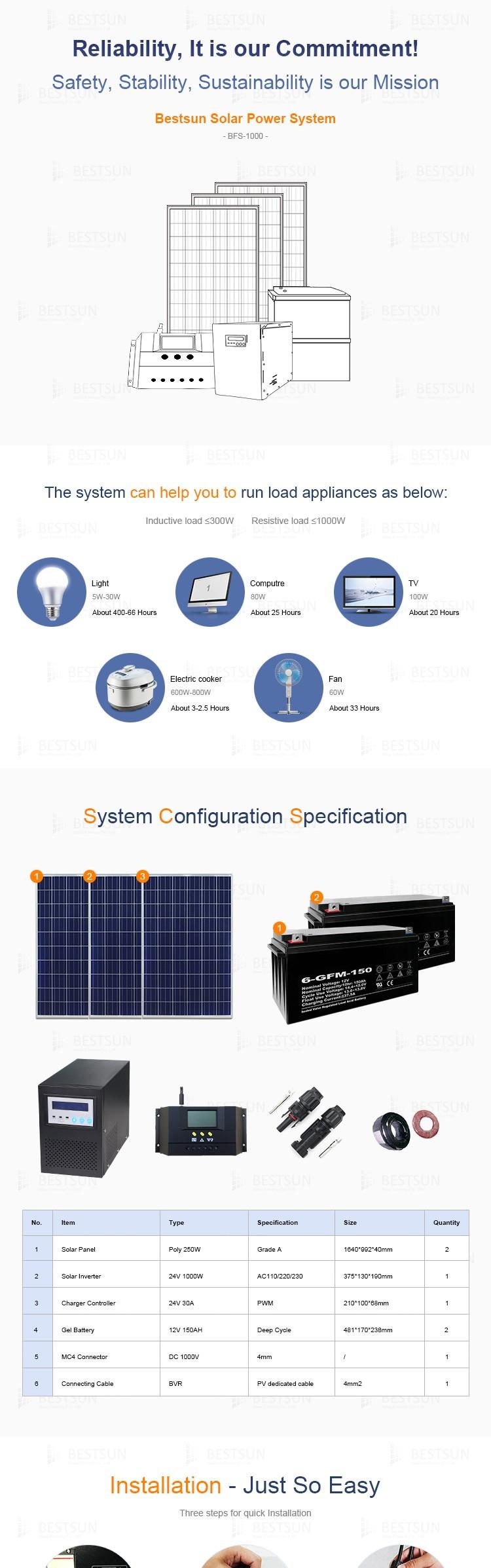Bestsun mono ou poly pv 1000 watt solaire panneau solaire complet puissance syst me avec - Panneau solaire quelle puissance ...