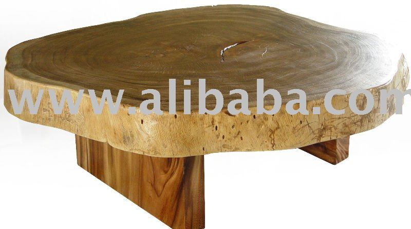 Coffee table reclaimed solid slab of acacia wood free form for Free form wood coffee tables