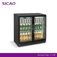 under counter glass door mini bar fridge