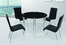 2015 popular tianjin modern round black temper glass dining furniture table set