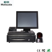 factory supply pos machine with fiscal pos receipt printer/barcode printer