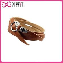 2015 Fashion girl skull cord leather bracelet