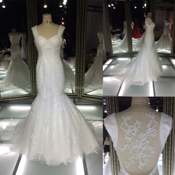 TH-X7596JL 2015 hot sale mermaid see through back lace appliqued wedding dress without sleeve fashion wedding dress
