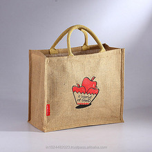 High quality plain jute tote bag for shopping with small loop