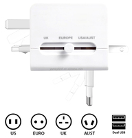 2USB Mobile Phone Chargers Worldwide Universal Travel Adapter Charger for iPhone ipad US EU UK AU Plug 5V 2.1A