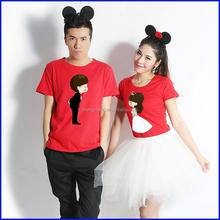 New arrival fashion design 100% cotton printed couple t shirt