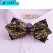 Yellow and brown stripe Micro fiber arrow bow ties JL1478