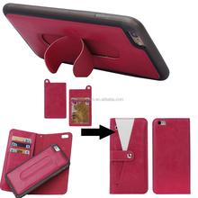 High quality Classic leather case For iPhone 6 functional wallet purse with stander