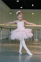 MBP0017 Kid pink lycrial ruffles dance ballet tutu dress