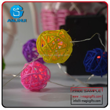 HOT!40 Balls/2 Sets 20 Multi-Color rattan ball string fairy lights