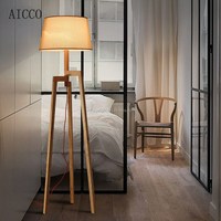 Modern Wood Floor Standing Lamps Fabric Lampshade Red Cord Wooden Tripod Base Floor Lamp