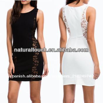 De la mujer sexy de encaje insertar acento vestido corto( ntf04002)