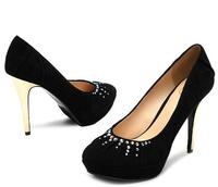 Mature sexy ladies black crystals red platforms White rhinestone high heel wedding mental heel comfortable shoes
