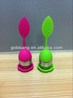 6 colors leaf shape with drip tray Herbal tea infuser