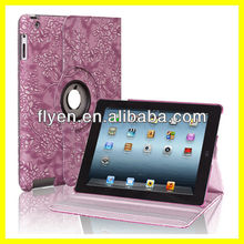 Engraving Fancy Pattern 360 Degree For New iPad 3 Slim PU Leather Smart Cover And Case Wake Up/Sleep Function Purple Good Price