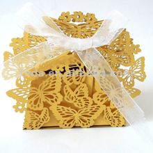 2012 New Arrival: Laser cut gold butterflies wedding favor box for gift