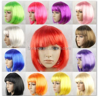 Wholesale 110g 30cm colorfull stright short fancy dress party wigs