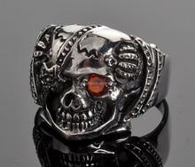 Red CZ Stone In Eye 316l Stainless Steel Biker Casting Patch Skull Men's Ring