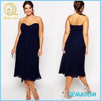 Beautiful strapless sexy party dresses plus size women black midi evening dress