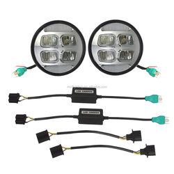 "Chrome 7"" Round Harley Car used LED Projection Headlight for Harley Davidson Motorcycles led bulb"