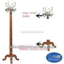stainless steel metal clothes tree wooden hanger S09