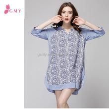 Maternity autumn thin section V-neck sleeve pregnant women dress big yards fashion casual r dress GMY05307