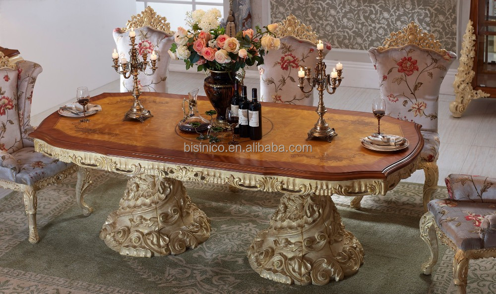 Baroque Antique Style Dining Table 100 Solid Wood Italy Style Luxury Dining Table Set View