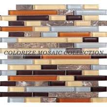 High quality glass and marble strip mosaic tiles (ST005)