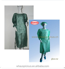 Manufacturer disposable hospital patient gown with elastic and knitted cuff blue green white color