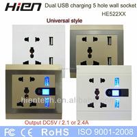 UK plug socket extension USB outlet socket 5v2.1a for iphone5c 5s ipad sumsung charging
