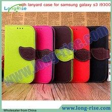 High Quality Leaf Magnetic Leather Flip with Lanyard Case for Samsung Galaxy S3 i9300 Case with Card Slot
